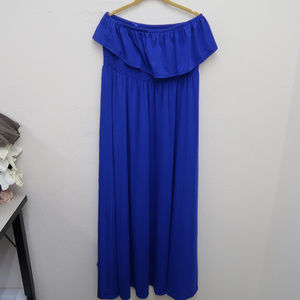Torrid Blue Off The Shoulder Stretch Maxi Dress